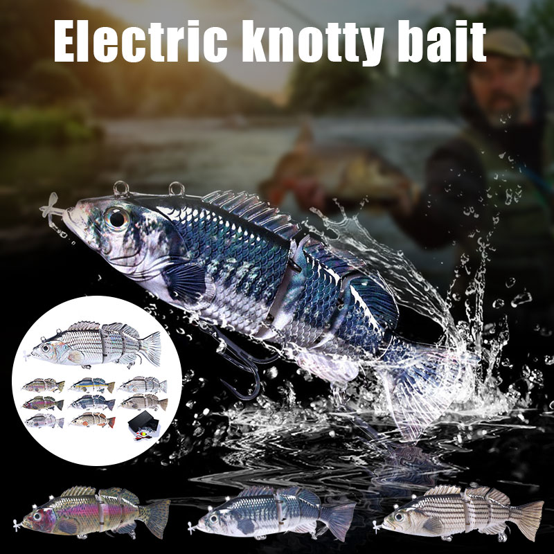 Wholesale 14cm Electric Lures Robotic Swimming Fishing USB Rechargeable LED Light 4-Section Wobbler