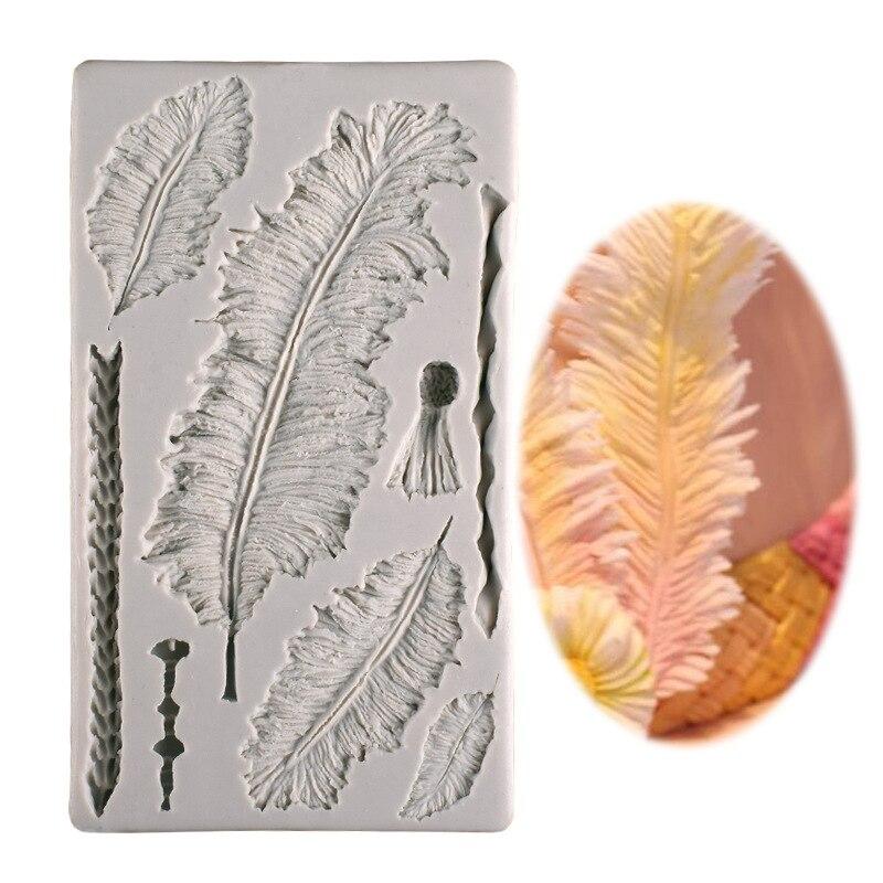 Venda quente sugarcraft pena molde de silicone fondant molde bolo ferramentas de decoração de chocolate gumpaste molde k373