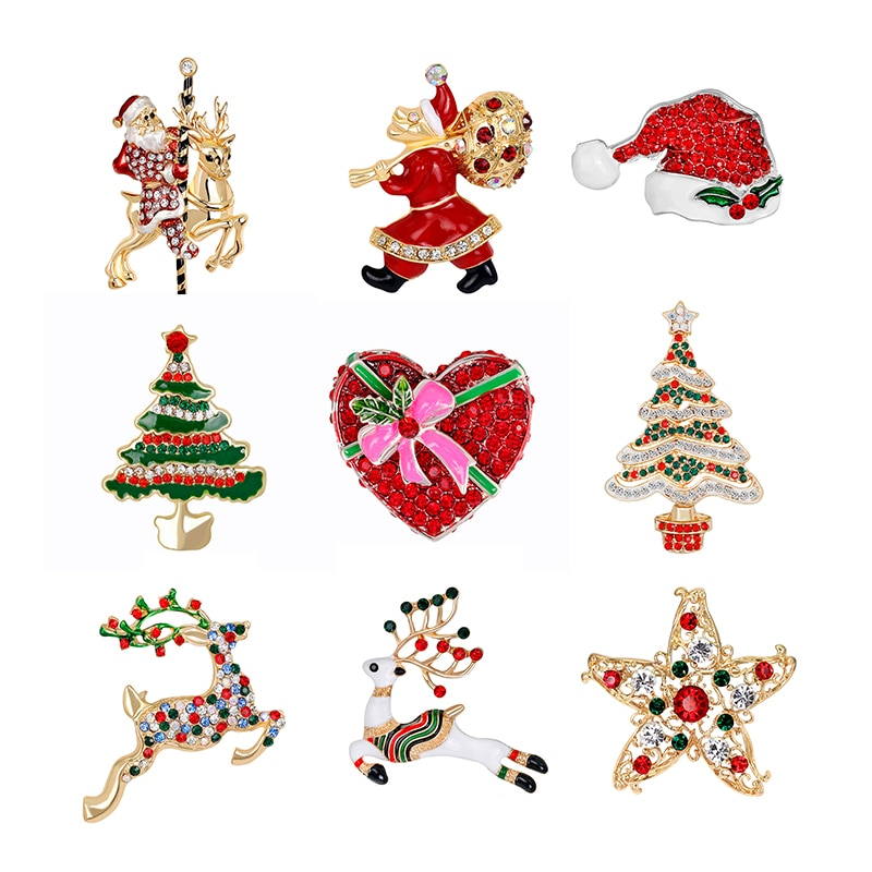 Natal broche pino de ouro pérola broches pinos na moda jóias pai botas árvores garland broches de rena para mulher
