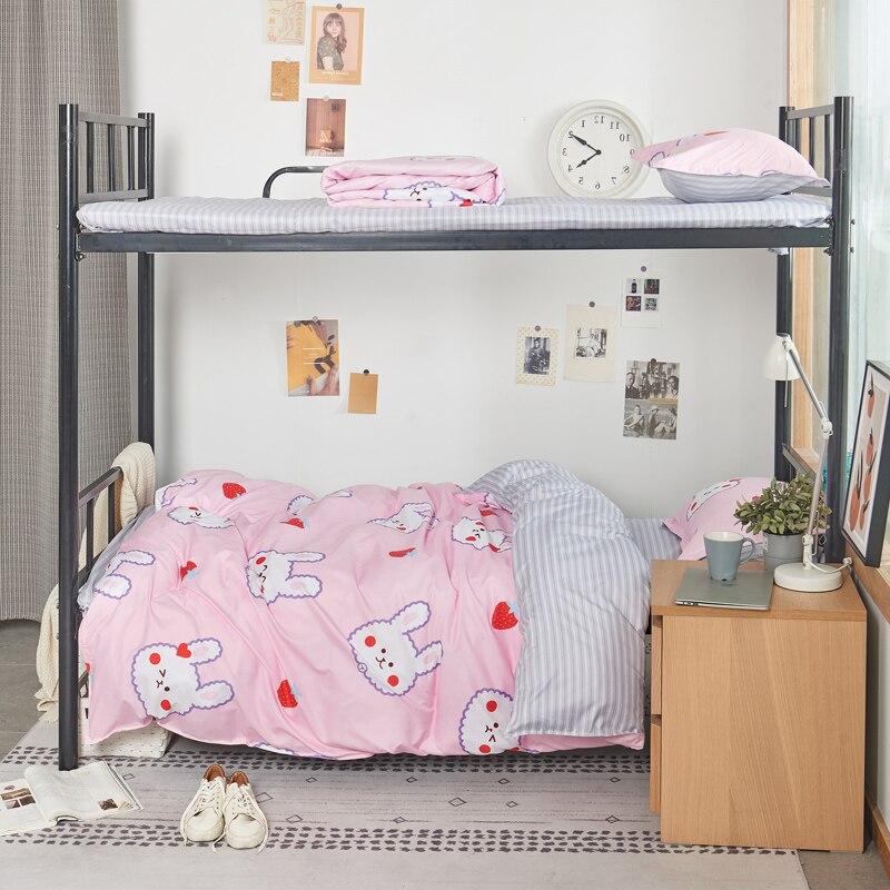 طقم أغطية سرير أرنب كاواي وردي للبنات ، غطاء لحاف بسيط وعصري ، سرير كينج أرنب كامل ، مفرد ، ناعم ، كوين