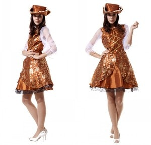 Women Girls Pirate Captain Princess Dresses Outfit Halloween Cosplay Costumes Masquerade Carnival Party Role Play Dress Up Suit