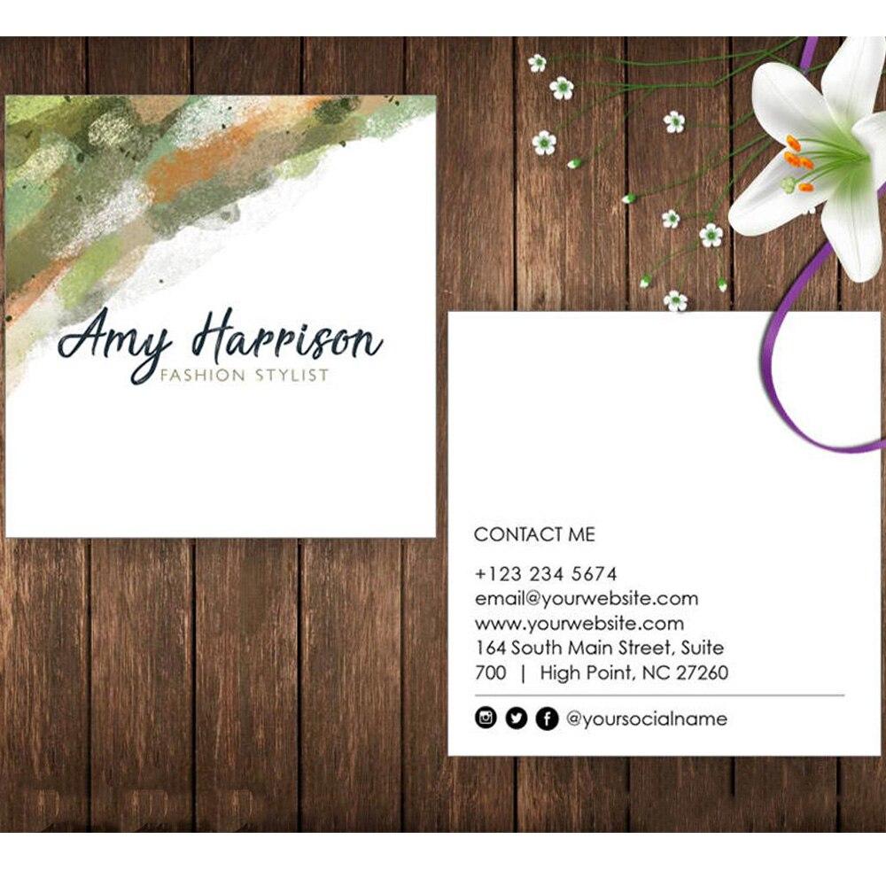 Tarjeta de visita cuadrada personalizada, Tarjeta De Nombre abstracta verde marrón, Tarjeta De Nombre de artista, tarjeta de visita mínima, Tarjeta De Nombre acuarelas
