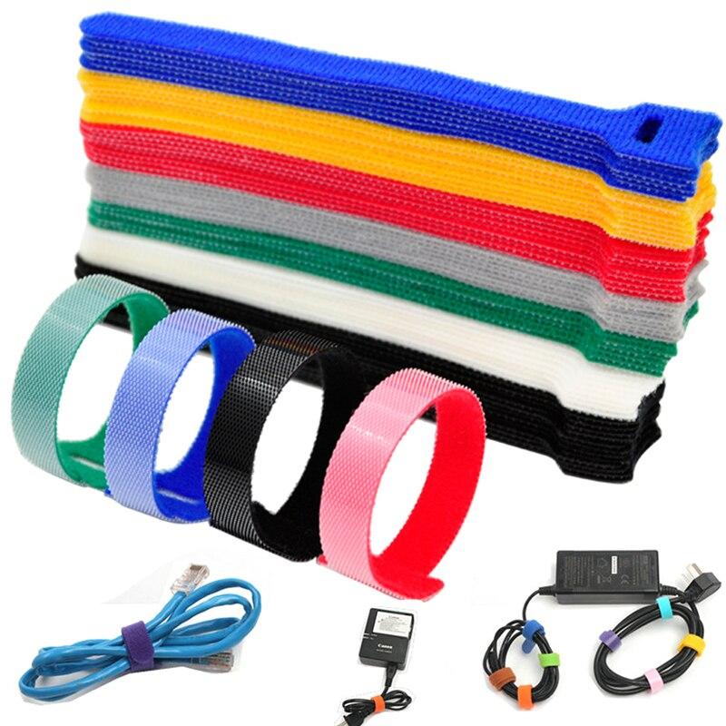 Bridas de Cable liberables para 20 piezas, gancho y bucle con cinta...