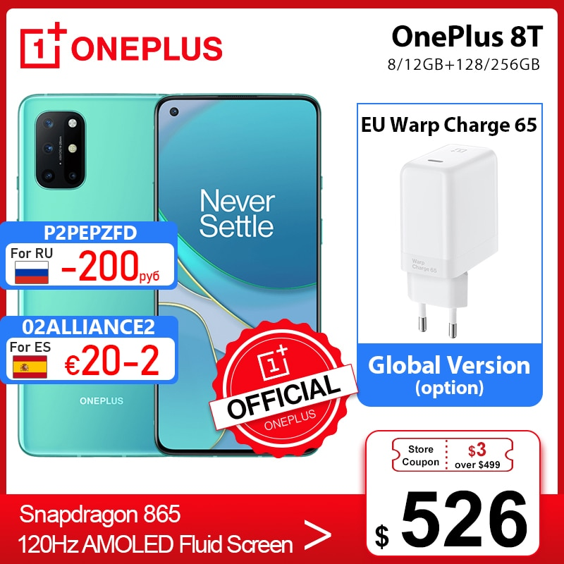 Global Rom OnePlus 8T 8 T OnePlus Official Store 8GB 128GB Snapdragon 865 5G Smartphone 120Hz AMOLED schermo fluido 48MP Quad Cams 4500mAh 65W ordito
