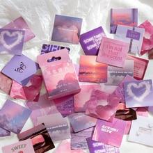 Rosa Lila Liebe Material Klebrige Tagebuch Aufkleber Ästhetischen Sammelalbum Aufkleber für Notebooks Schreibwaren Verpackung 46PCS