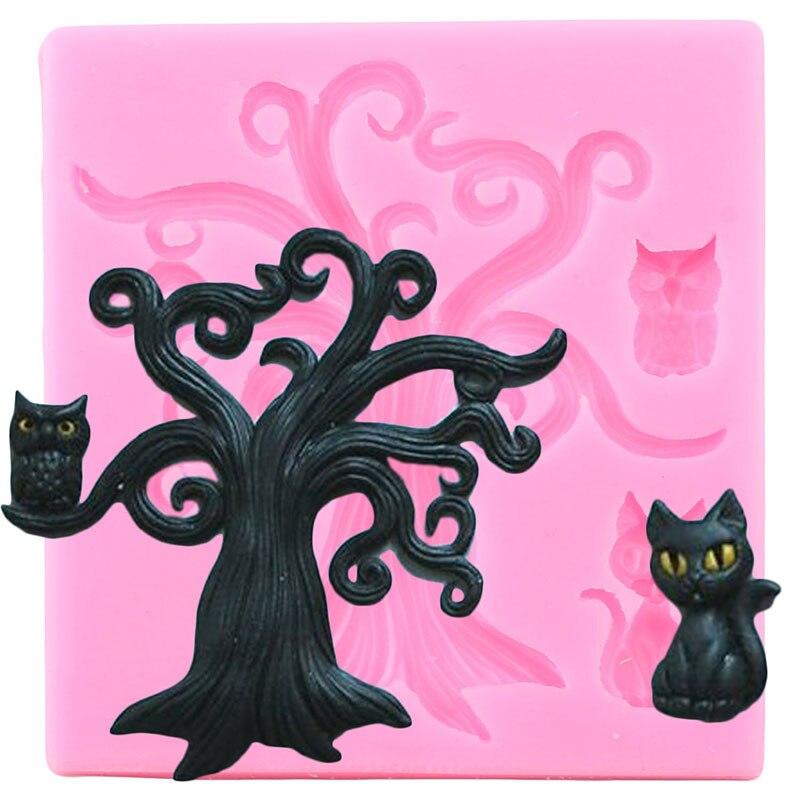 Diy halloween fondant bolo ferramentas de decoração árvore coruja moldes de silicone doces argila chocolate gumpaste moldes