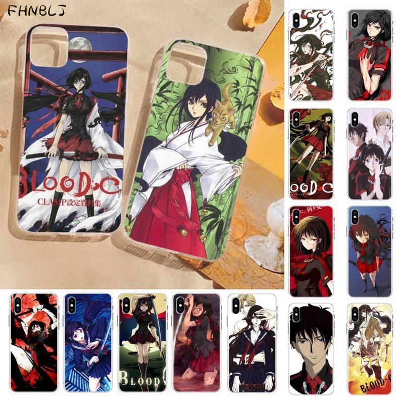 FHNBLJ anime japonés BLOOD-C negro Funda para Teléfono Celular para iPhone 8 7 6 6S Plus X 5S SE 2020 XR 11 pro XS.