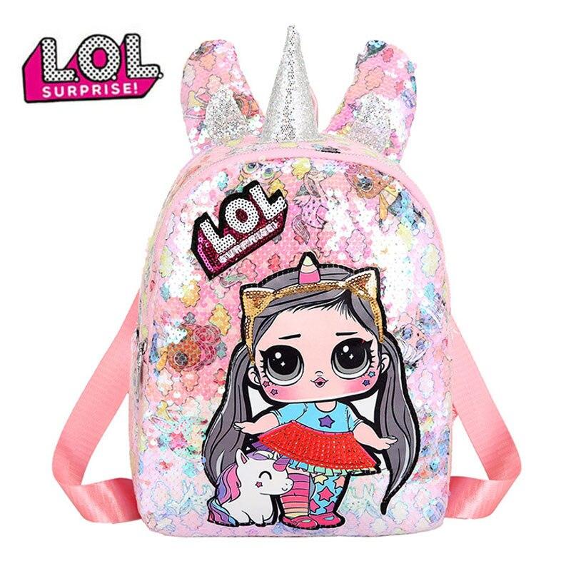 Nueva Bolsa LOL Surprise Doll unicornio lentejuelas Linda mochila chica Color caramelo mochila estudiante escuela bolsa