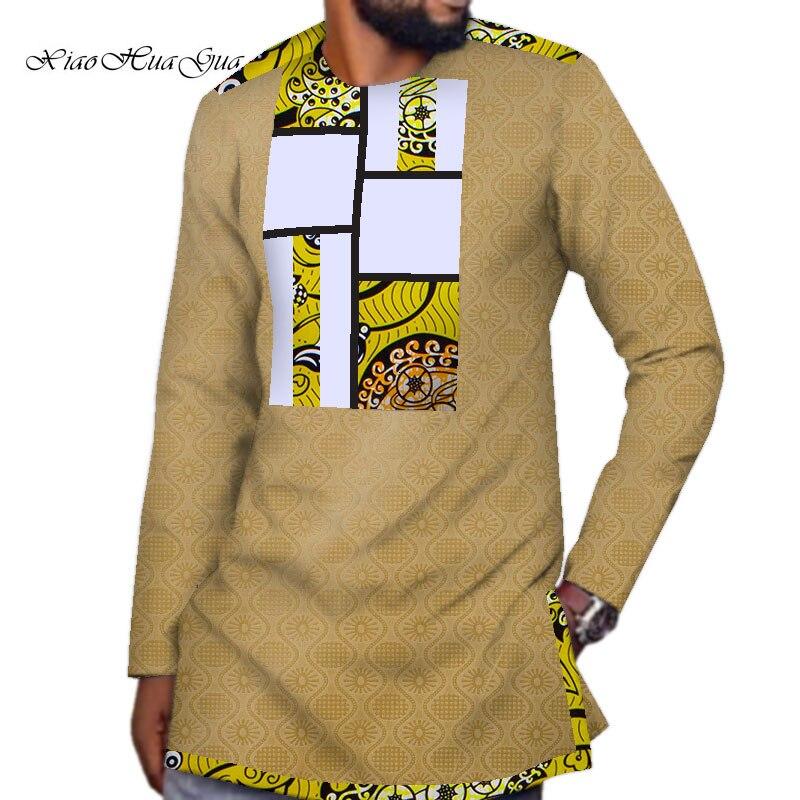 Новая африканская рубашка Дашики для мужчин Bazin богатая африканская одежда мужская хлопковая рубашка с Африканским принтом Лоскутная руба...