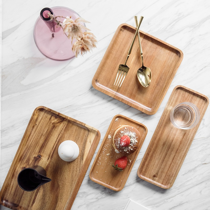 Acacia Rectangle Wooden Tea Tray Serving Table Plate Snacks Food Storage Dish For Hotel Home Serving Tray Home Specialty Plates
