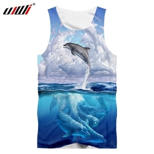 UJWI Dolphin Graphic Vest Sea Casual Man Tank Top 3D Printed Tops Summer Sleeveless Top Male Plus Size Blue Streetwear Dropship