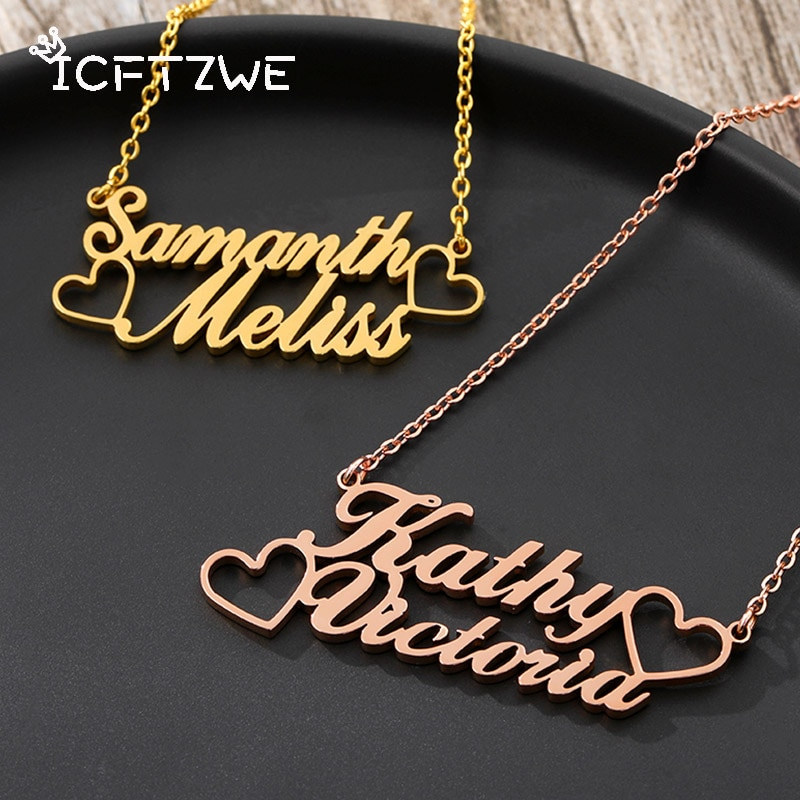 women costume two name necklace rose gold personalized infinity double names necklaces stone chain jewelery gift for lover mom Personalized Name Heart Necklace For Women Stainless Steel Gold Chain Custom Double Necklaces With Heart  Jewelry Girls Gift