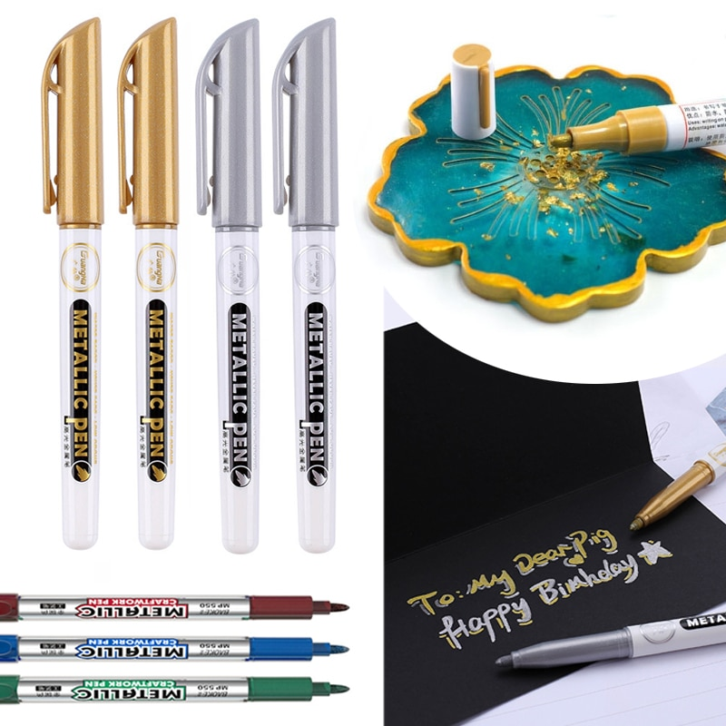 AliExpress - 2pcs/Lot DIY Metallic Pen For DIY Epoxy Resin Crfat Gold Silver Resin Drawing Highlight Pen Waterproof Permanent Marker Pens
