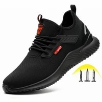 indestructible shoes men safety work shoes with steel toe cap puncture proof boots lightweight breathable sneakers dropshipping