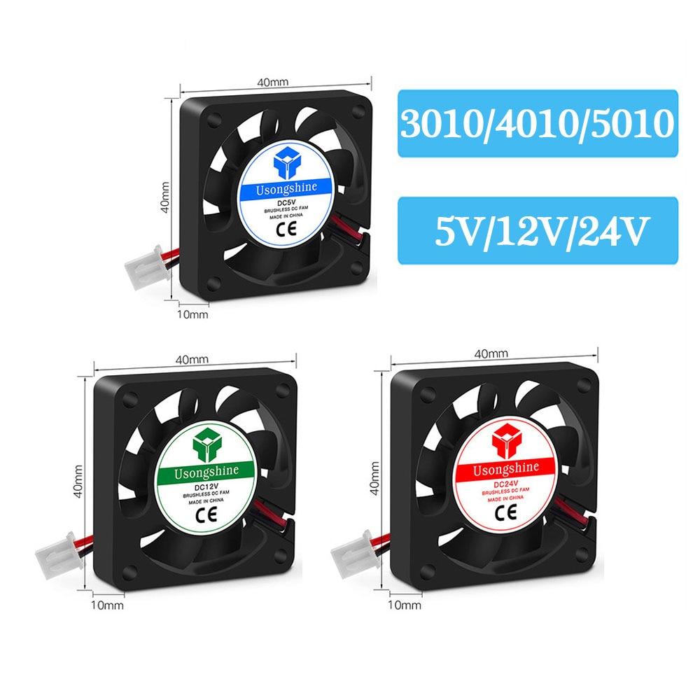 3D printer parts cooling fan 3010 4010 5010 5015 5/12/24V brushless DC fan for radiator cooler sapphire pro