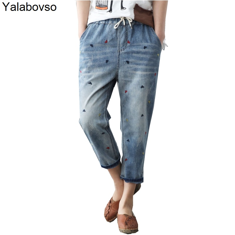 AliExpress - Washed Hole Loose All-match Calf-lenght Pants With Drawstring Retro Flower Embroidery Elastic Waist Jeans Mujer Women Female