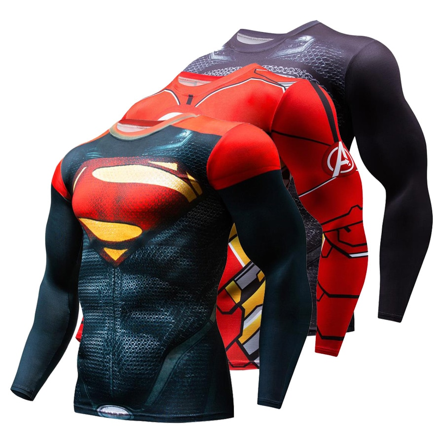 Nuevo 2019 Superman castigador Rashguard, camiseta para correr, camiseta para hombre, camisetas de compresión de manga larga, camiseta para gimnasio, Camiseta deportiva para Fitness