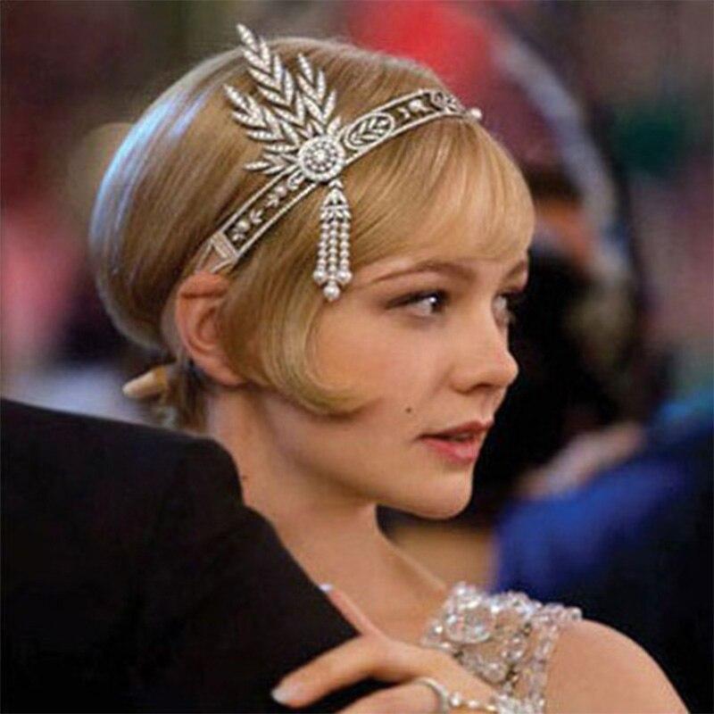 Grande Gatsby Headwear Feminino Temperamento Elegante Estilo Vintage 1920s Pérolas Strass Tiara Noiva Cosplay Performance de Palco