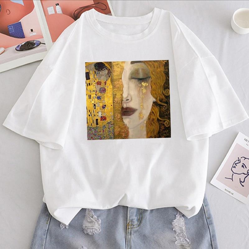 Lato nowe napisy Gustav Klimt drukowane bluzki Vintage tees casual Harajuku duże rozmiary nowa sztuka farba olejna luźna koszulka damska ins