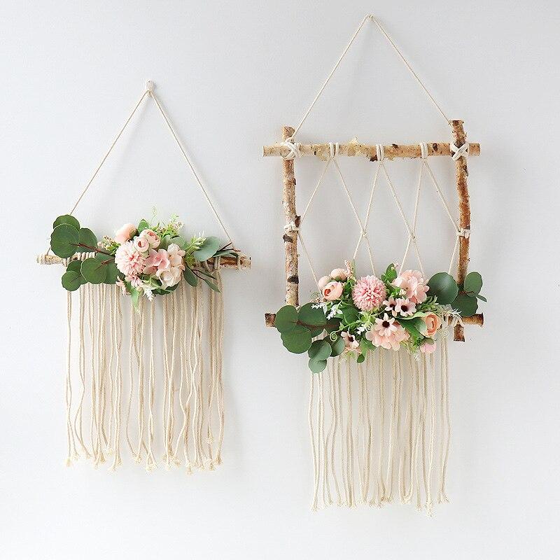 2020 nueva Bohemia Macrame hecha a mano tapiz colgante de pared de algodón de flores, arte tapicería artesanías para marco de fotos casa decoración primitiva