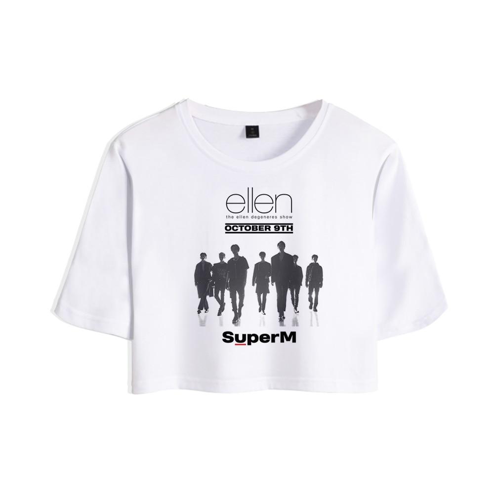 Kpop 2019 Novo Macho Super grupo M BAEK HYUN KAI Taemin 3D Tops Venda Da Menina t-shirt Curto Mulheres Sexy Casuais T shirt Roupas