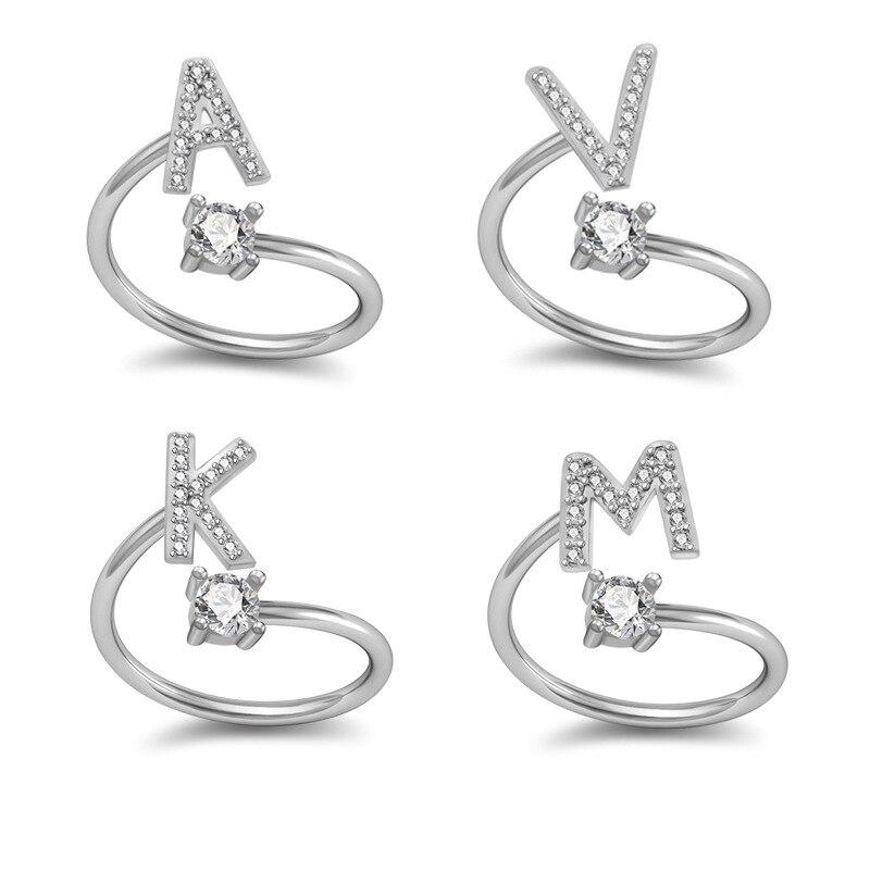 Pequena moda zircônia chapeamento de prata alfabeto a-z carta anéis de cristal de alta qualidade ajustável anéis para mulheres e meninas jóias