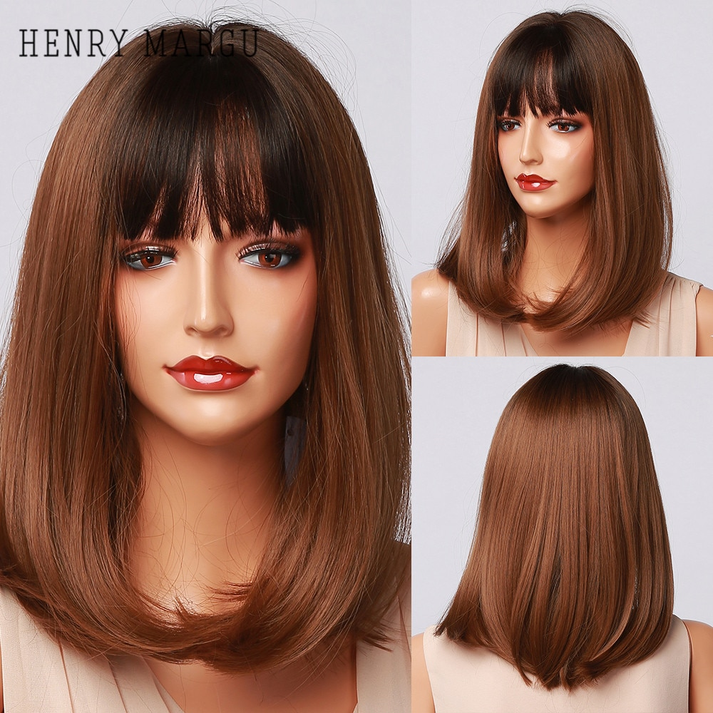 HENRY MARGU Long Straight Bob Wigs with Bangs Brown Black Ombre Synthetic Wigs for Women Natural Cosplay Heat Resistant Wigs