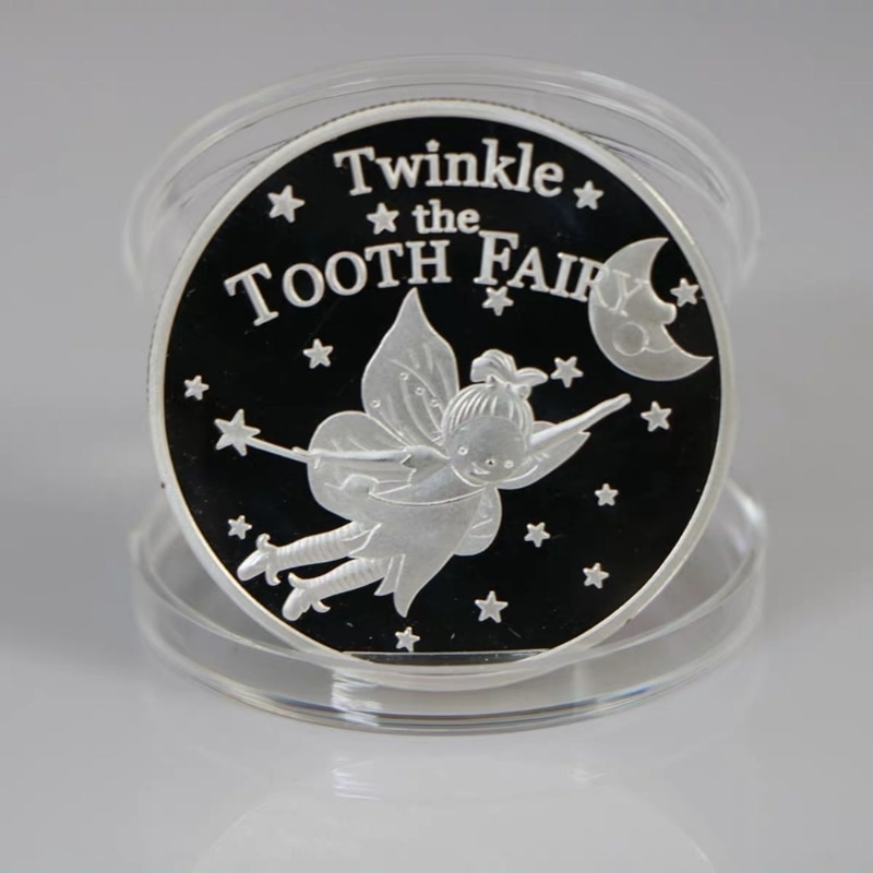 Gold/Silver Plated Twinkle Tooth Fairy Coin Collection Souvenir Challenge Art Crafts Children Baby Teeth Growth Gifts