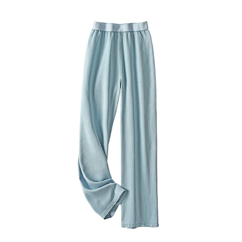 SHUCHAN Mujer Pantalones  Tencel/Lyocell  Full Length  LOOSE  Wide Leg Pants  Spring/Autumn  High Street Jean Trousers Women