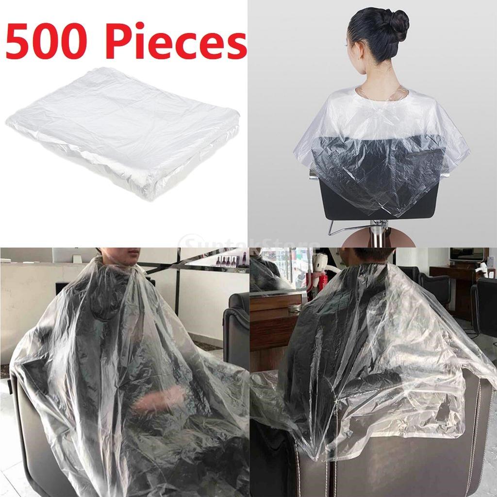 Transparente do Perm do Barbeiro das Capas Descartáveis do Corte de Cabelo dos Pces Avental 500