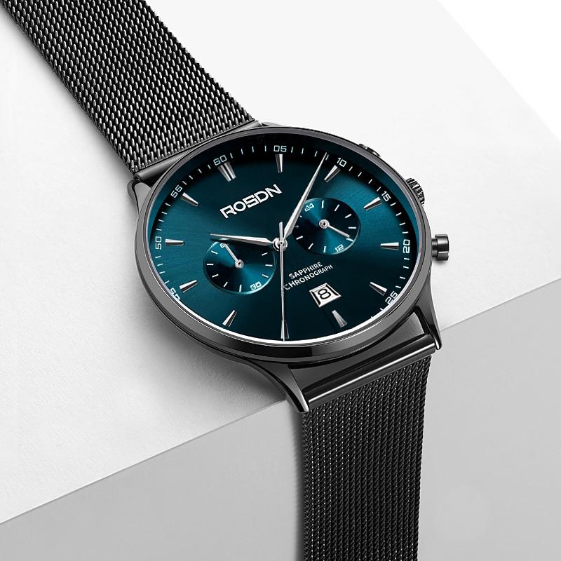 ROSDN new men's watch personalized steel belt watch light and thin fashion watch men's trend quartz watch waterproof enlarge