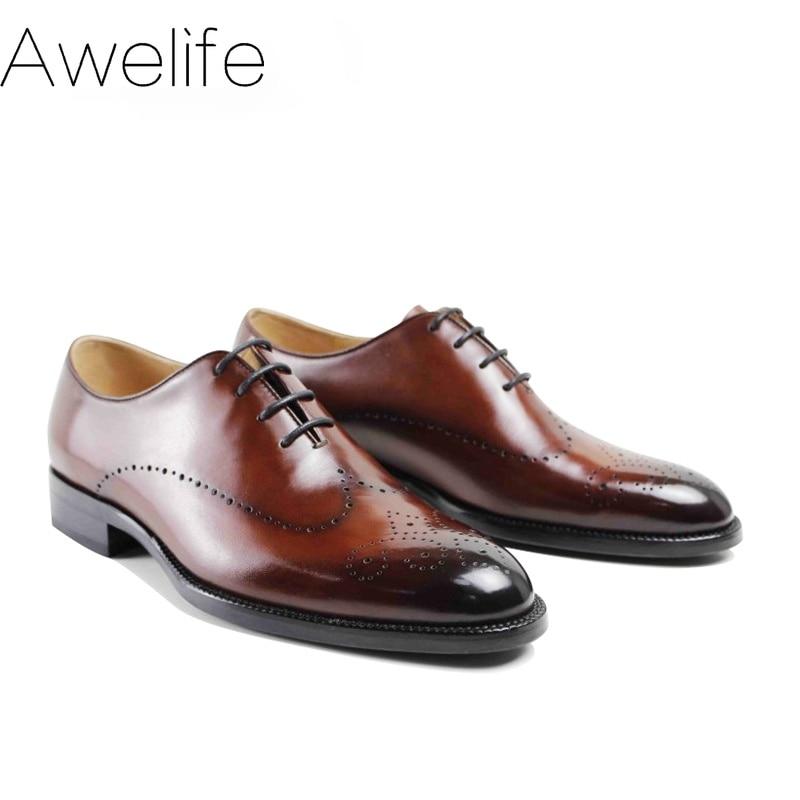 2021 Handmade Brand Vintage Retro Brogue Office Wedding Party Dance Male Dress Genuine Leather Flat