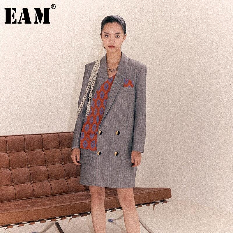 [EAM] Chaqueta larga holgada con estampado de patrón gris con abertura en la solapa nueva de manga larga para mujer, abrigo a la moda para primavera y otoño 2020 1B902