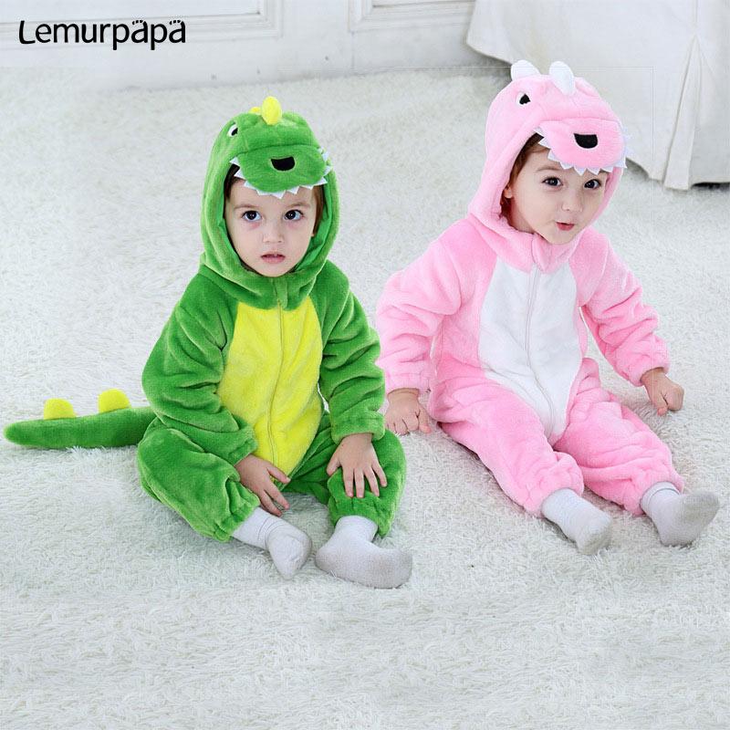 Kawaii الطفل رومبير ديناصور الكرتون الحيوان زي طفل التوائم صبي فتاة الملابس الشتوية الفانيلا لينة بذلة لطيف Kigurumis