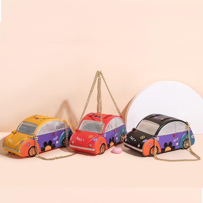 سيارة عتيقة نمط المحافظ وحقائب اليد للنساء خياطة اللون سلسلة حقائب كتف حقيبة مخلب الإناث مصمم العلامة التجارية