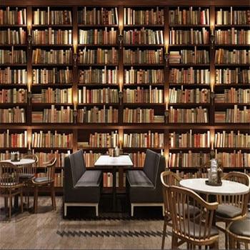 Milofi large non-woven wallpaper mural simple business 3d three-dimensional bookshelf bookcase background wall