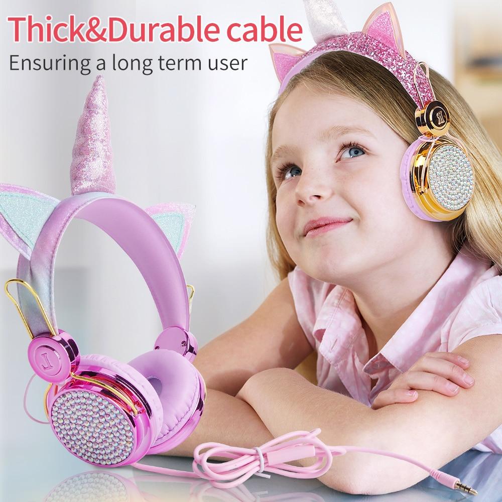 Licorne ecouteur enfant casque Kawaii auriculares casque filaire casque fone de ouvido audifonos gamer avec microphone