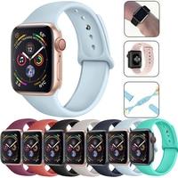 Для Apple Watch, версии 6 SE 5 4 3 2 1 мягкая силиконовая лента смарт-браслет Ремешки для наручных часов Iwatch серии 38, 40, 42, 44 мм часы петля