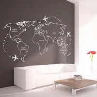 world map airplane around wall stickers for living room home background art decoration vinyl wallpaper art poster lw354