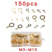 150pcs m3m4m5m6m8m10 ring lugs eyes copper crimp terminals connector cable lug copper tab wiring nose combination set diy