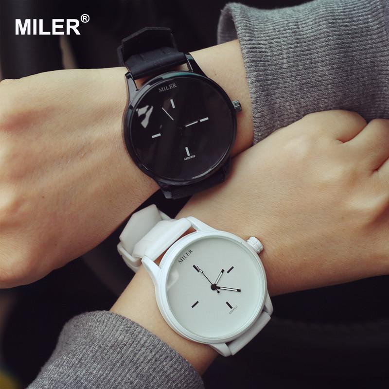 Original MILER Brand Soft Silicone Strap Jelly Quartz Watch Wristwatches for Ladies Lovers Black Whi