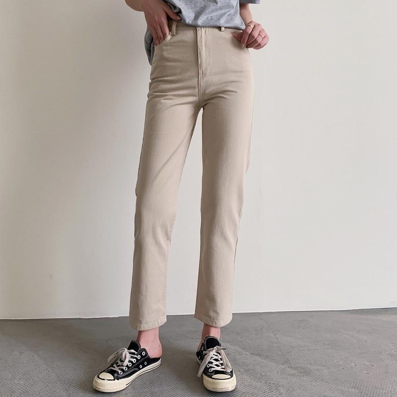 High Waist Light Color Wash Straight Pants Spring and Summer 2020 New Korean Jeans Women's Pants Urban Leisure Commuter Leg