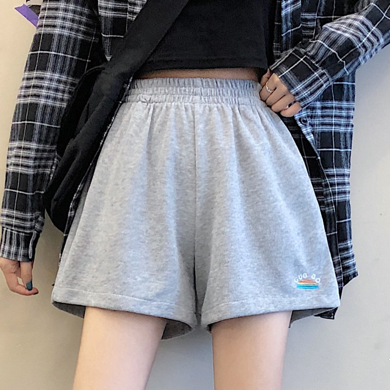 DAYIFUN Shorts Women Summer Loose Solid BF Wide-leg Knee-length Harajuku Casual Simple Ins Trendy All-match Students Chic