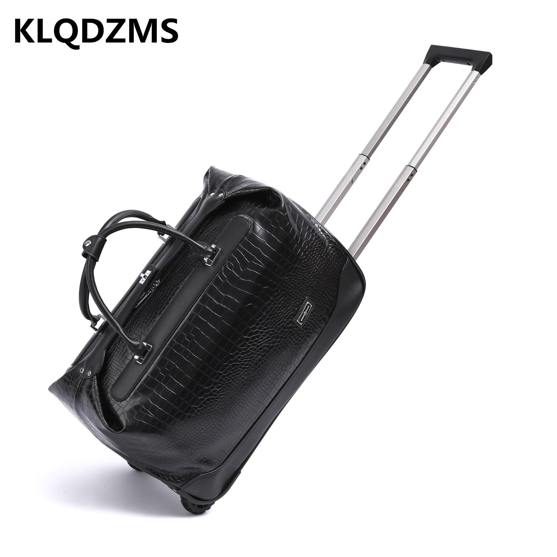 KLQDZMS 20 дюймов 24 дюйма женский ручной чемодан деловой Дорожный чемодан на колесах ПУ мужской портативный Съемный чемодан на колесах для путе...
