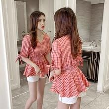 Plaid Shirt for Women 2021 New Summer Korean Style Versatile V-neck Short-Sleeved Chiffon Top Waist-