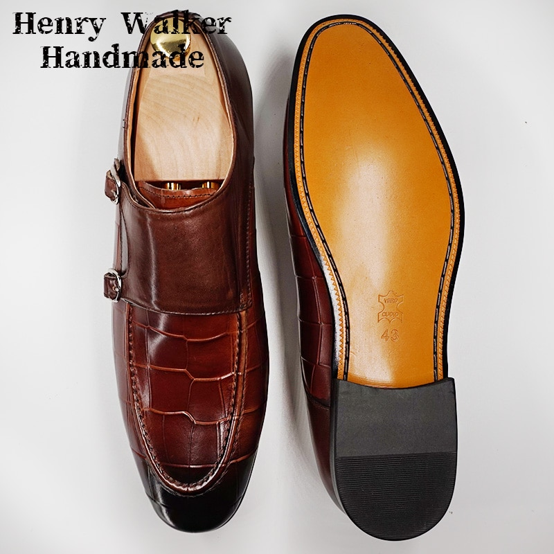LUXURY MEN LOAFERS SHOES GENUINE LEATHER DOUBLE MONK STRAP MENS DRESS SHOES BLACK BROWN POINTED OFFICE WEDDING MEN CASUAL SHOES