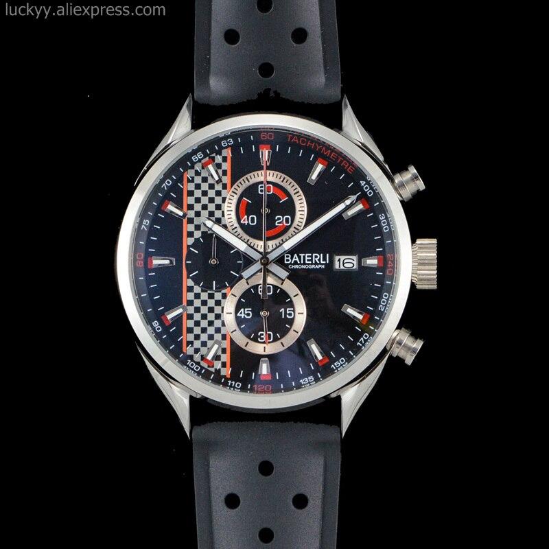 Reloj creativo de cuarzo para Hombre, Reloj deportivo con cronógrafo de acero inoxidable para coche de carreras, Reloj de Hombre con correa de goma, Reloj Masculino A173