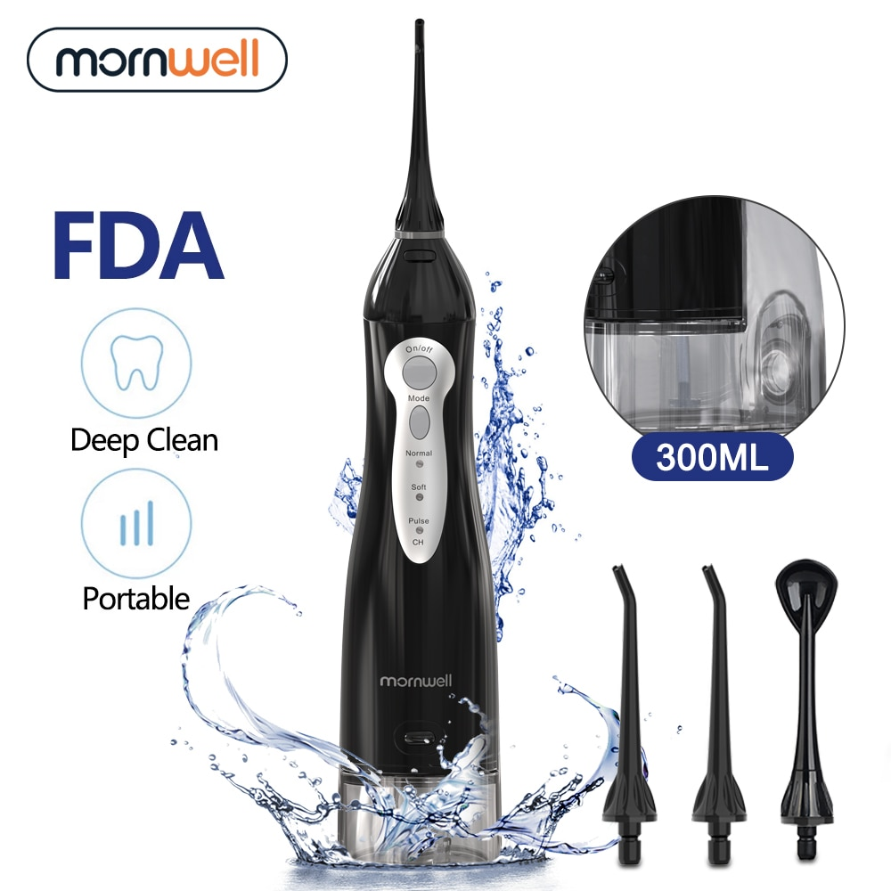 Mornwell Oral Irrigator Portable Water Dental Flosser USB Rechargeable Water Jet Floss Tooth Pick 4 Jet Tip 300ml 3Models
