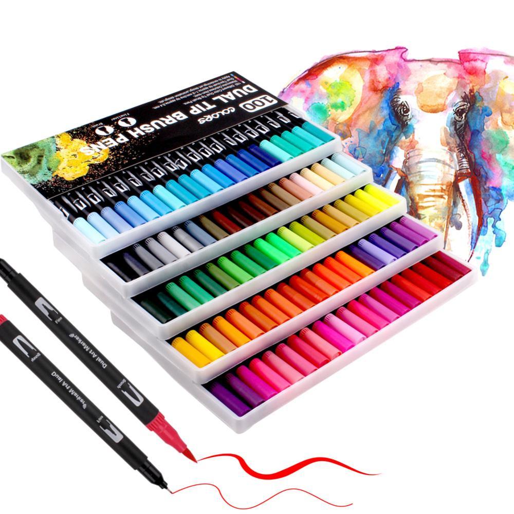 Canetas de ponta dupla, canetas coloridas para adultos com ponta de feltro para até 120 cores caligrafia pintura