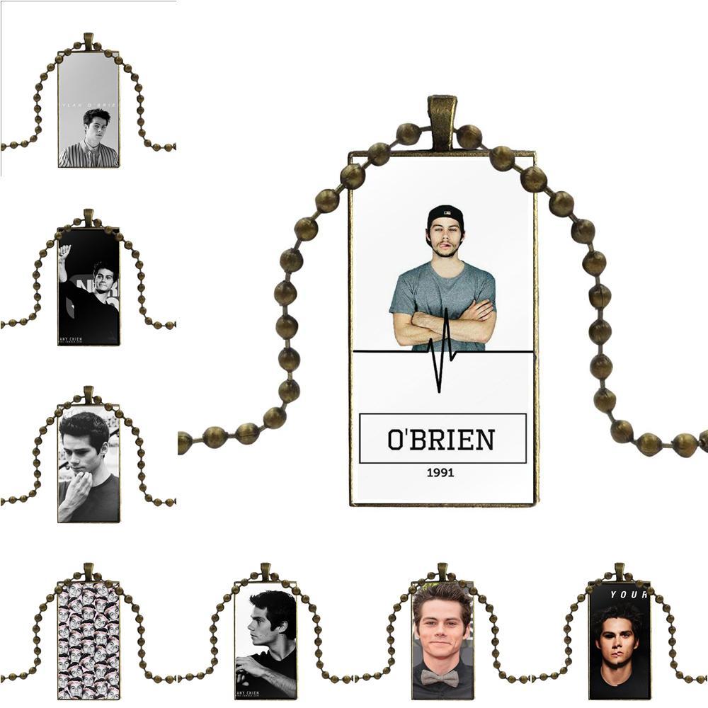 Para fiesta Unisex diseño de regalo de moda Vintage de vidrio mujeres collar con dije de rectángulo colgantes Tv Teen Wolf Dylan O Brien